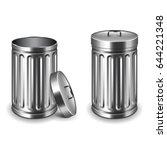street trash bin isolated on... | Shutterstock .eps vector #644221348