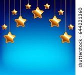 cartoon stars on blue sky... | Shutterstock .eps vector #644221360