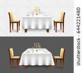 luxury restaurant table for two ... | Shutterstock .eps vector #644221480