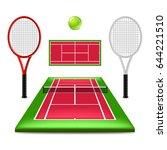 tennis court set isolated on... | Shutterstock .eps vector #644221510