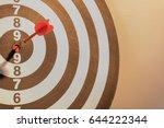 red dart target arrow hitting...   Shutterstock . vector #644222344
