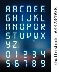glow digital alphabet and... | Shutterstock .eps vector #644234938