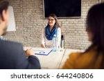 female on job interview in... | Shutterstock . vector #644240806