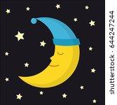 sleeping moon in nightcap and... | Shutterstock .eps vector #644247244