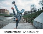 breakdance performer  upside... | Shutterstock . vector #644250379