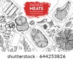 meats top view frame. vector... | Shutterstock .eps vector #644253826