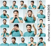 set of handsome emotional man... | Shutterstock . vector #644256808