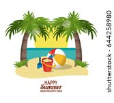 happy summer holidays poster.... | Shutterstock .eps vector #644258980