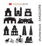 vietnam landmarks architecture... | Shutterstock .eps vector #644261098