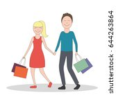 happy family enjoy shopping... | Shutterstock .eps vector #644263864