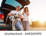 family of two person and dog... | Shutterstock . vector #644265490