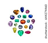 mix bright gems isolated on a...   Shutterstock . vector #644274460