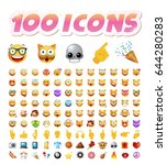 set of 100 cute icons on white... | Shutterstock .eps vector #644280283
