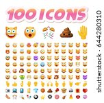 set of 100 cute icons on white... | Shutterstock .eps vector #644280310