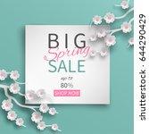 spring sale banner template... | Shutterstock .eps vector #644290429