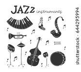 vector jazz instruments icons...   Shutterstock .eps vector #644295994