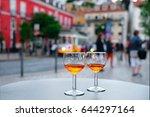 port wine glasses in the cafe... | Shutterstock . vector #644297164