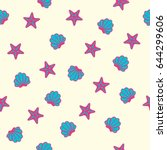 summer seamless pattern with... | Shutterstock .eps vector #644299606