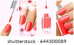 colorful red collection of nail ... | Shutterstock .eps vector #644300089