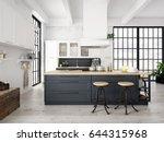 3d rendering of modern kitchen... | Shutterstock . vector #644315968