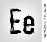 grunge tire letter e. unique... | Shutterstock .eps vector #644316088