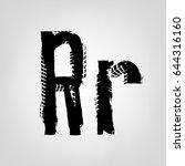 grunge tire letter r. unique... | Shutterstock .eps vector #644316160