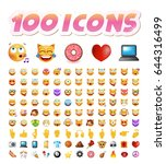 set of 100 cute icons on white... | Shutterstock .eps vector #644316499