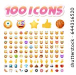 set of 100 cute icons on white... | Shutterstock .eps vector #644316520