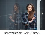 sexy young woman outdoors.... | Shutterstock . vector #644320990