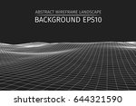 wireframe landscape background. ... | Shutterstock .eps vector #644321590