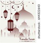 ramadan kareem greeting card or ... | Shutterstock .eps vector #644322643