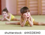 young girls doing gymnastics. | Shutterstock . vector #644328340