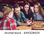 use mobile phone selfie photo... | Shutterstock . vector #644328424