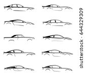 Stock vector set of a black silhouette car on white background vector illustration 644329309