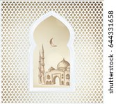 arabic window with the hand... | Shutterstock .eps vector #644331658