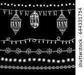 set of doodle chalk garlands ...   Shutterstock .eps vector #644331754