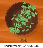 thyme flat design vector icon.... | Shutterstock .eps vector #644332036