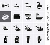 hygiene and sanitation icons.... | Shutterstock .eps vector #644332954