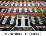 historic brick buildings along... | Shutterstock . vector #644335984