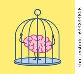 brain locked in cage. vector... | Shutterstock .eps vector #644344858
