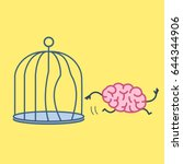 brain escaping out of the bird... | Shutterstock .eps vector #644344906