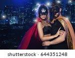 super hero couple over city | Shutterstock . vector #644351248
