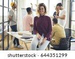 portrait of smiling female... | Shutterstock . vector #644351299