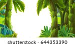 cartoon nature scene jungle... | Shutterstock . vector #644353390