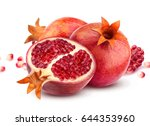 group of pomegranate fruits... | Shutterstock . vector #644353960