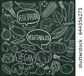 vegetables vegan food doodle... | Shutterstock .eps vector #644356273
