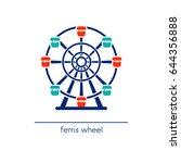 ferris wheel. amusement park... | Shutterstock .eps vector #644356888
