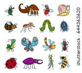 funny insects and cute bugs on ... | Shutterstock . vector #644363620