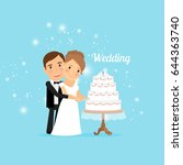 bride and groom with wedding... | Shutterstock . vector #644363740
