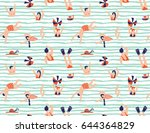 summer seamless pattern. people ... | Shutterstock .eps vector #644364829